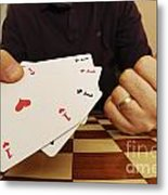 Four Aces In Hands Metal Print