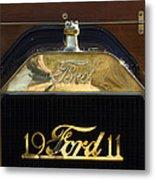 1911 Ford Model T Torpedo Hood Ornament Metal Print by Jill Reger