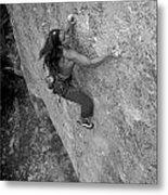 A Caucasian Women Rock Climbing Metal Print