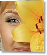 Beautiful Young Woman With A Yellow Lily Metal Print