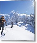 Cross-country Skiers In The Selkirk Metal Print