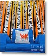 Empty Blue Chair Metal Print by Holly Donohoe