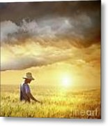 Farmer Checking His Crop Of Wheat  Metal Print