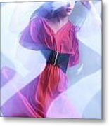 Fashion Photo Of A Woman In Shining Blue Settings Wearing A Red  Metal Print