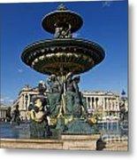 Fountain At Place De La Concorde. Paris. France Metal Print