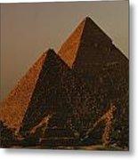 Giza Pyramids From Left Kings Menkure Metal Print by Kenneth Garrett