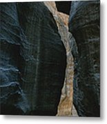 Hikers In The Siq Canyon Leading Metal Print