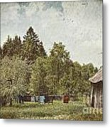Laundry Drying On Clothesline On A Summer Day Metal Print by Sandra Cunningham