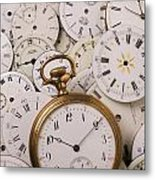 Old Pocket Watch On Dail Faces Metal Print