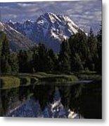 Reflection Of The Teton Mountans Metal Print by Richard Nowitz