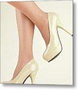 Woman Wearing High Heel Shoes Metal Print
