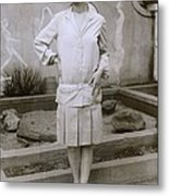 1927 Suit With A Mid-knee Pleated Skirt Metal Print