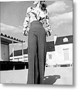 1940s Fashion A Peasant Top Metal Print by Everett