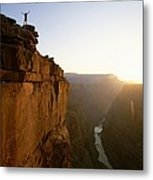 A Hiker Surveys The Grand Canyon Metal Print by John Burcham