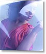 Beauty Photo Of A Woman In Shining Blue Settings Metal Print