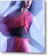 Fashion Photo Of A Woman In Shining Blue Settings Metal Print