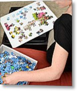 Puzzle Therapy Metal Print