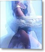 Fashion Photo Of A Woman In Shining Blue Settings Metal Print by Oleksiy Maksymenko