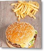 Fat Hamburger Sandwich Metal Print