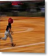 A Boy Runs During A Baseball Game Metal Print by Raul Touzon