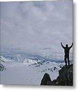 A Climber Raises His Arms In Triumph Metal Print