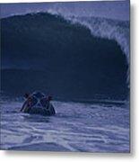 A Hippopotamus Surfs The Waves Metal Print