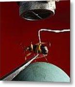 A Microphone Triggers A Flash Metal Print by James P. Blair