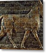A Relief Depicts A Bull Metal Print