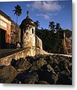 A Rocky Beach And Ancient Walls Line Metal Print by Ira Block