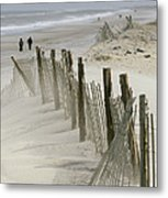 A Snow Fence Stretches Across A Dune Metal Print by Skip Brown