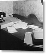 A Us Government Clerks Home Office Desk Metal Print by Everett