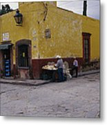 A Vendor Selling Food On A Street Metal Print by Gina Martin