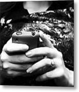 A Woman And Her Phone Metal Print