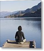 A Woman Enjoys Yoga And Relaxation Metal Print by Taylor S. Kennedy