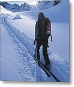 A Woman Skiing In The Selkirk Metal Print
