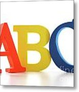 Abc Letters On White  Metal Print