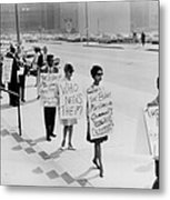 African Americans Protesting Black Metal Print by Everett