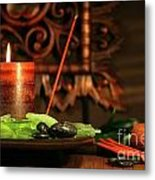 Amber Colored Candles Metal Print