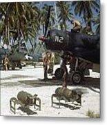 American Ground Crews Prepare Marine Metal Print by W. Robert Moore