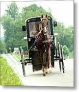 Amish Buggy On The Road Metal Print