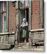 An Elderly Woman Stands At The Door Metal Print by Cotton Coulson