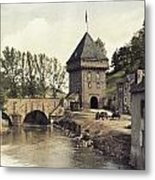 An Old Gate Stands At The Bridge Metal Print