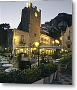 An Outdoor Cafe-restaurant With Diners Metal Print