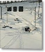 An Overhead View Of Buried Cars On An Metal Print by Ira Block