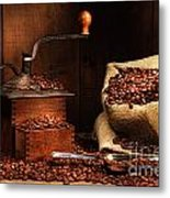 Antique Coffee Grinder With Beans Metal Print by Sandra Cunningham