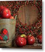 Apples In Wood Bucket For Holiday Baking Metal Print