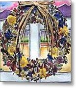 Arizona Wildflower Wreath Metal Print by Regina Ammerman