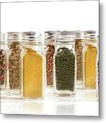Assorted Spice Bottles Isolated On White Metal Print by Sandra Cunningham