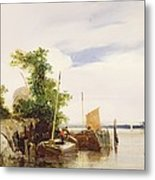 Barges On A River Metal Print by Richard Parkes Bonington