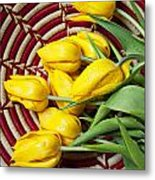 Basket Full Of Tulips Metal Print